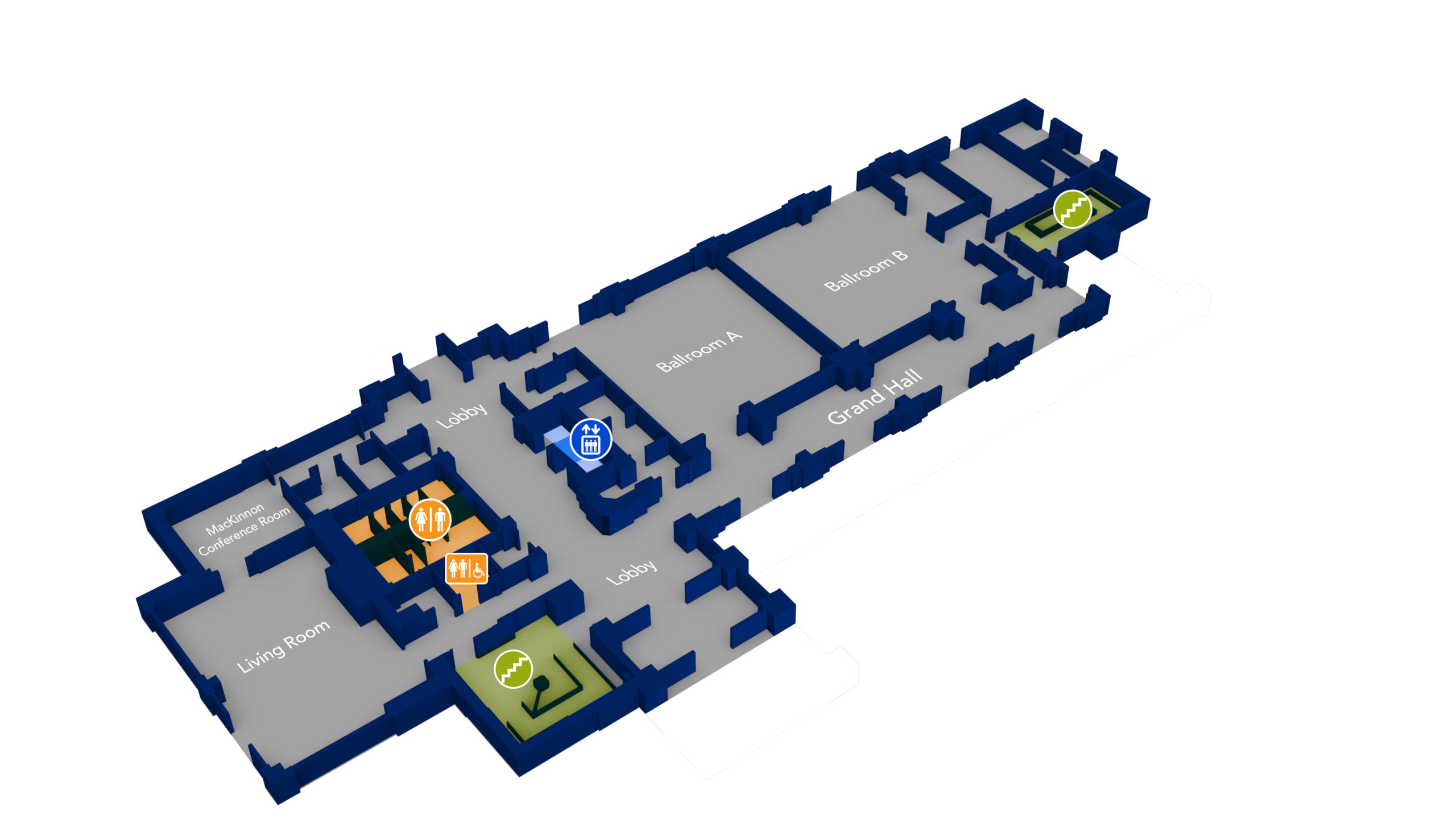 Boise State University 3D Floor plan with blue walls and gray flooring