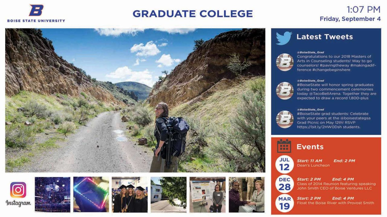 A Boise State University news/image display with twitter feed, live events, and image gallery