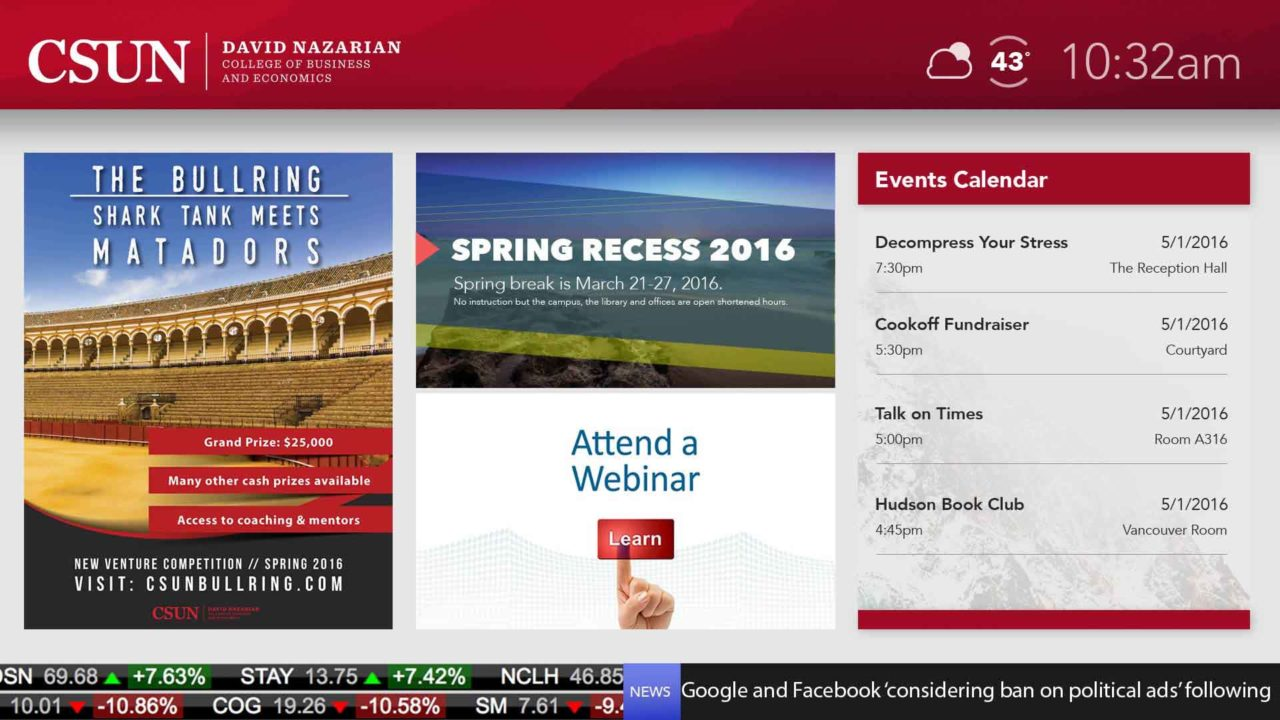 Home screen of three informational images on the left and an events calendar on the right
