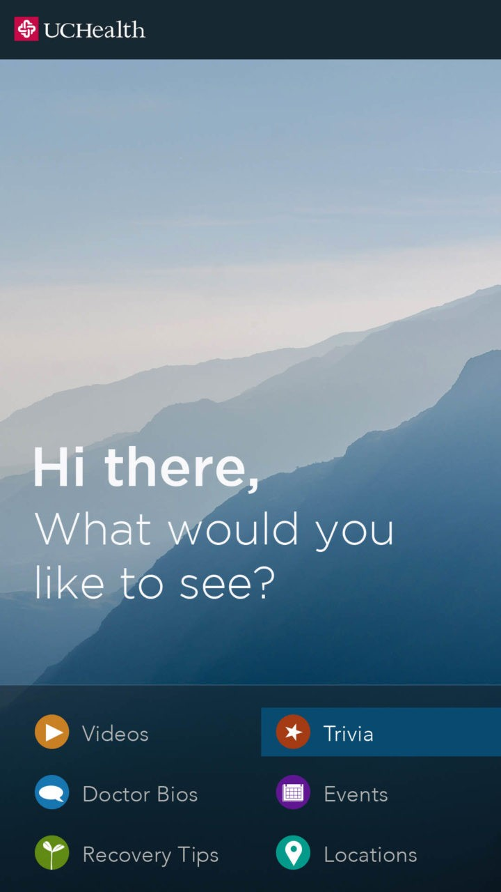 A digital screen with a picture of mountains and available interactive options