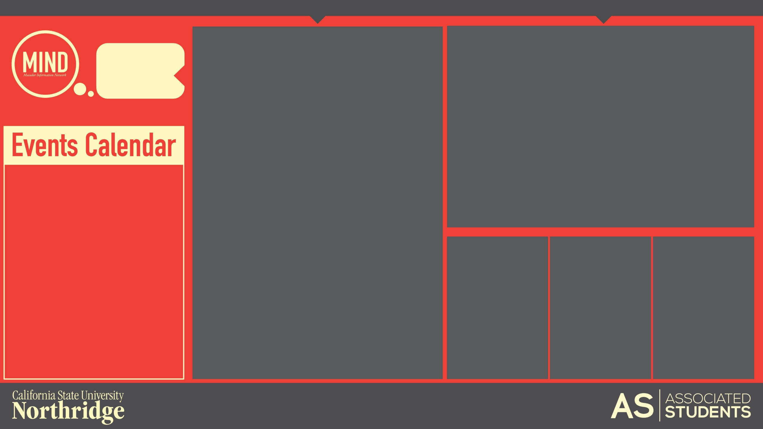 A collage layout template for a digital signage events display