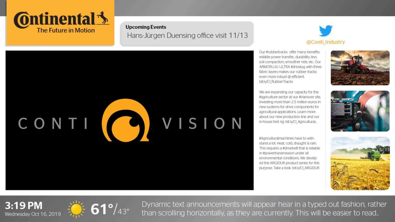A contivision video with Twitter feed on the right side and a dynamic text boxt