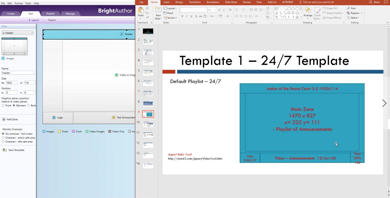A screenshot of Creating A MultiZone Template in the BrightAuthor software