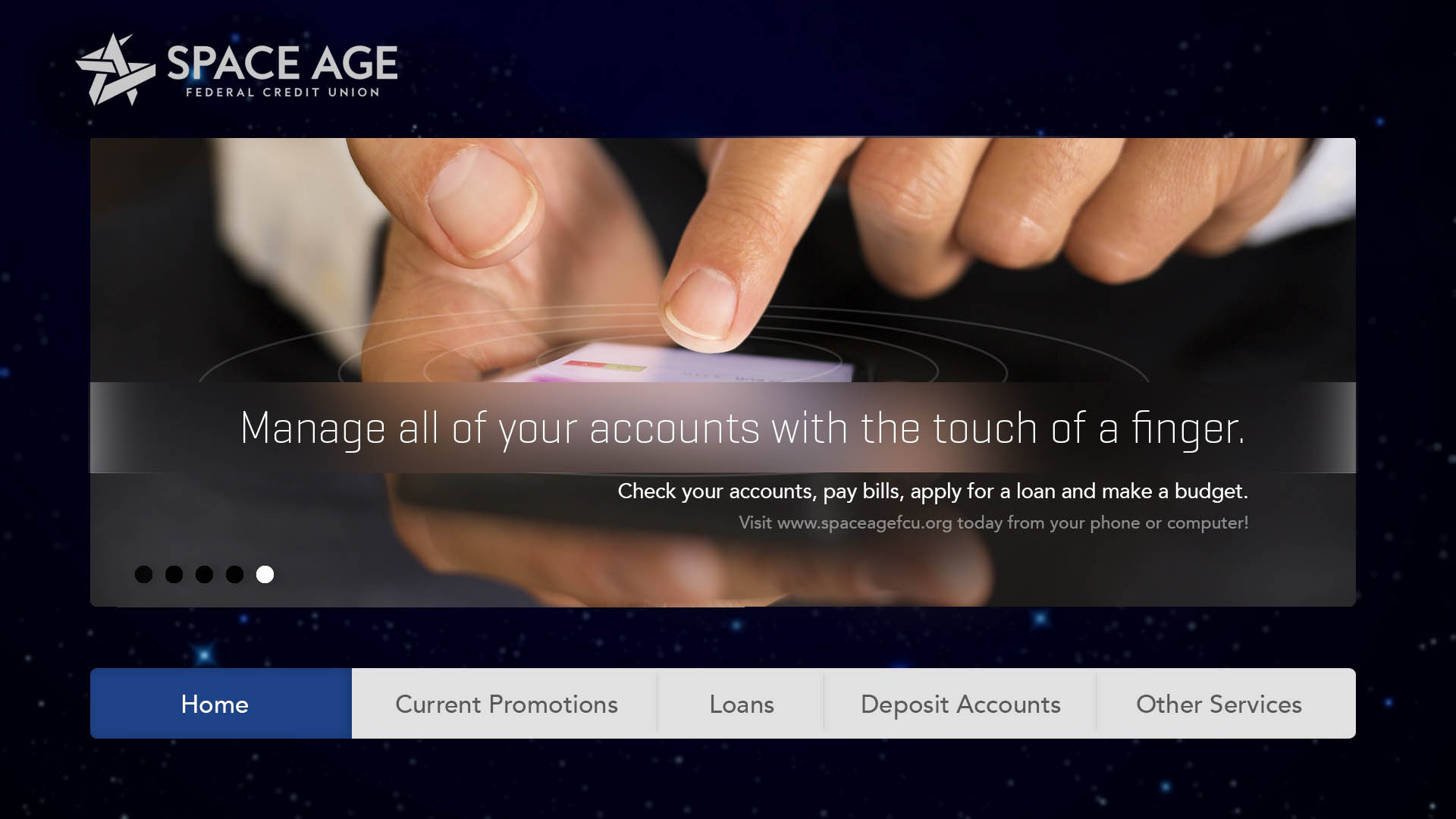 "Screenshot of a welcome dashboard with text saying ""Manage all of your accounts with the touch of a finger"""
