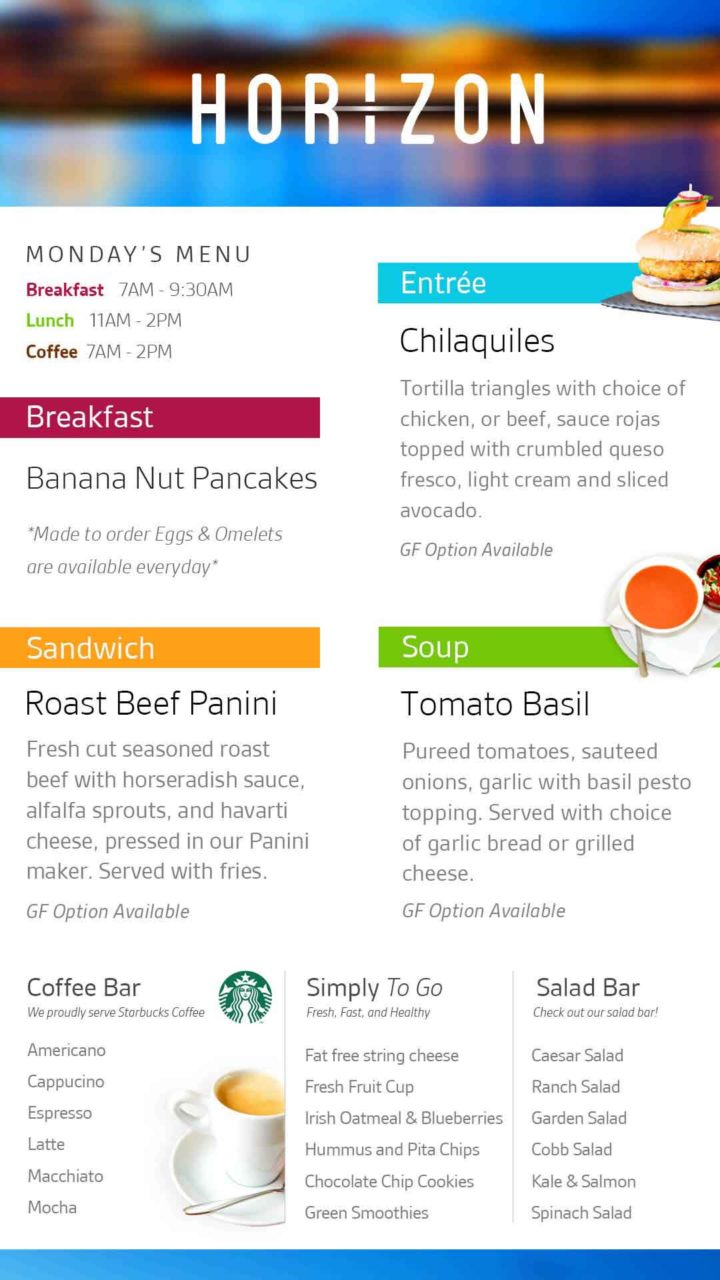 A white menu board with imaged daily food products and their descriptions