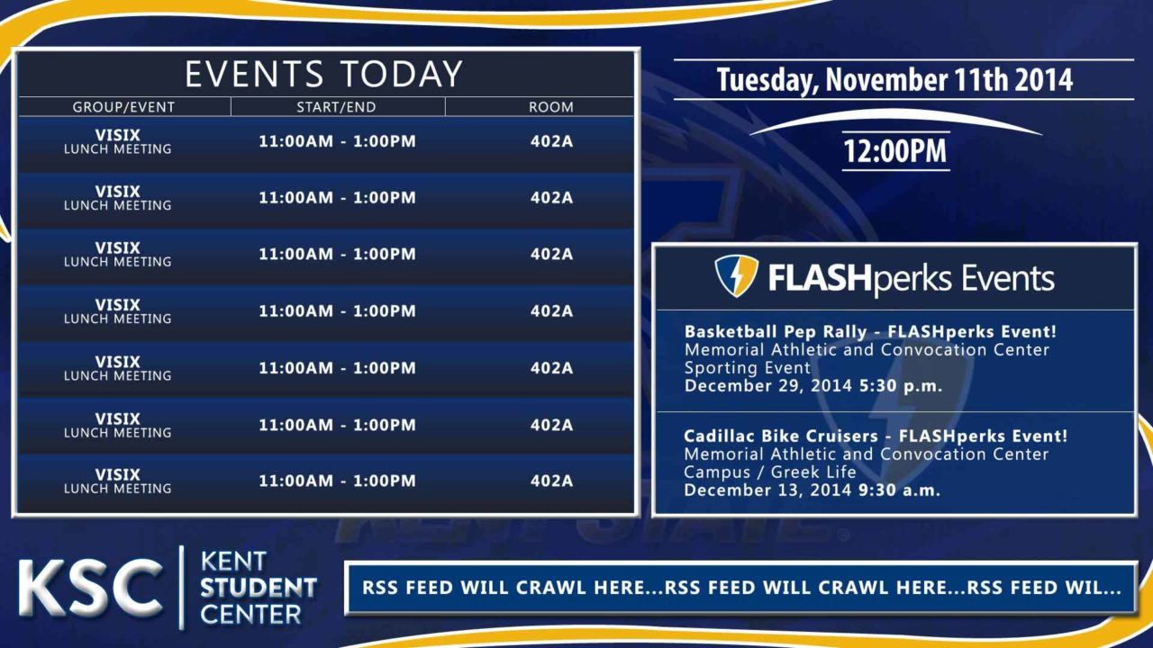 """Blue signage display with """"Events Today"""" schedule and additional text information on the right"""