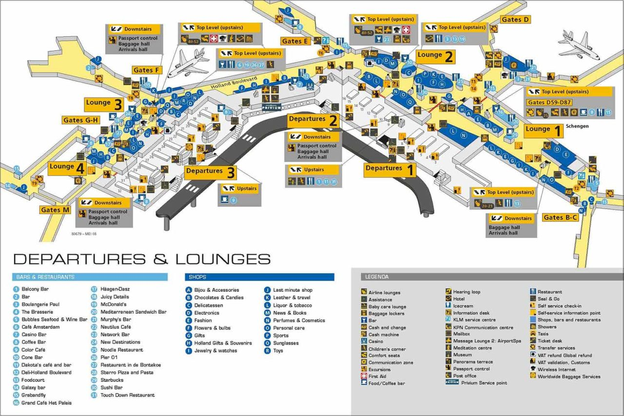 In-Depth 3D floor plan of Amsterdam Schiphol International Airport with alphabetical legend of shops, bars, restaurants, and more