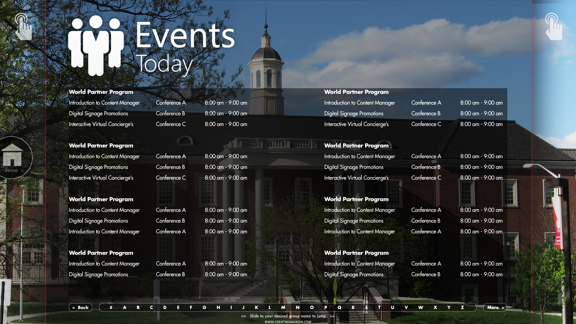 An upcoming college event digital display for Miami University of Ohio
