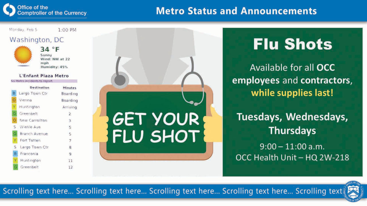 Green box on right with flu shot appointment information and weather/plane updates on the left side