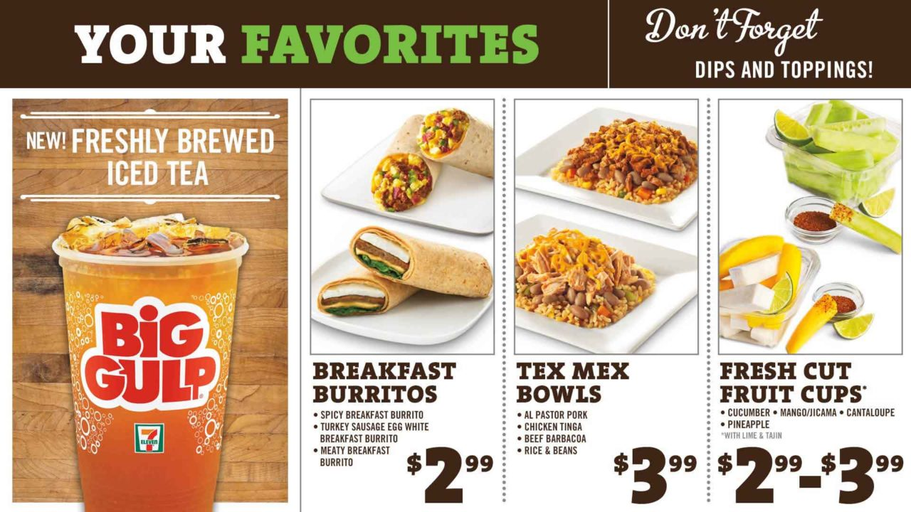 A 7Eleven Menu Board with images of a soda drink, burritos, and fruit cups product and their prices