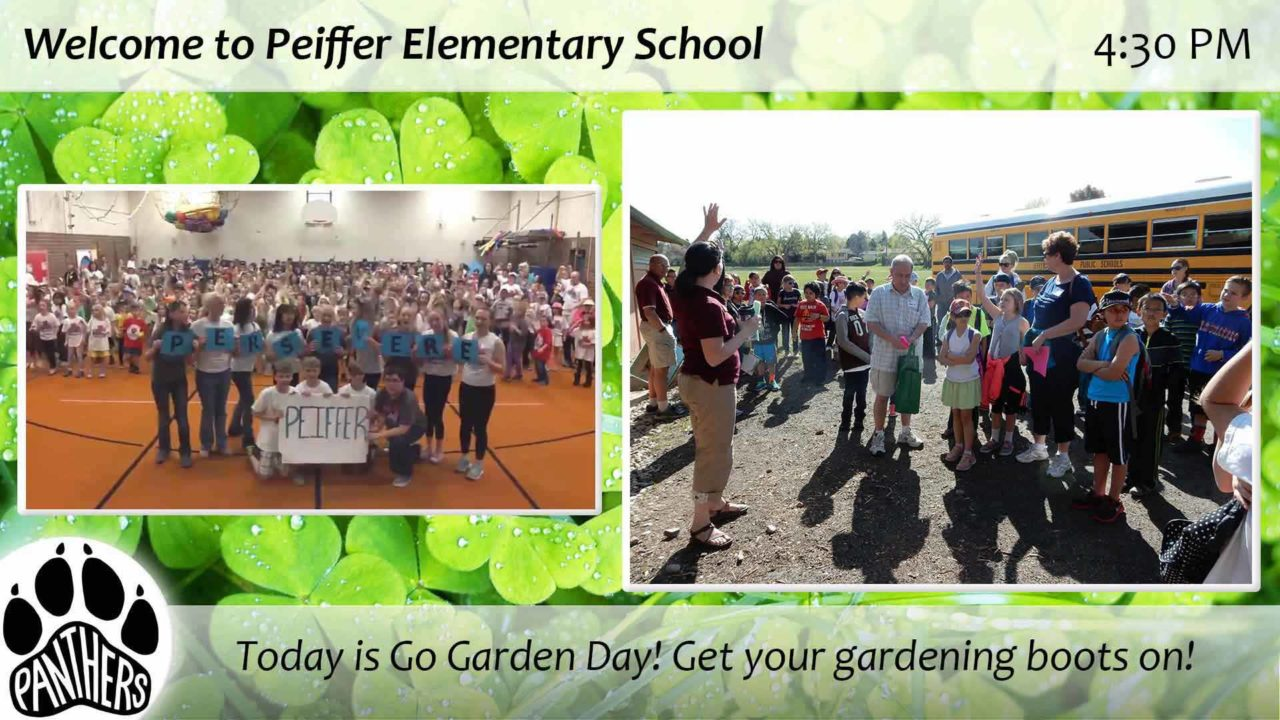 An image gallery for Peiffer Elementary School with two photos of students and the school logo