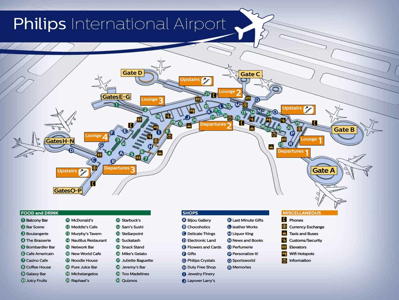 Airport floor map with a legend of shops & rooms
