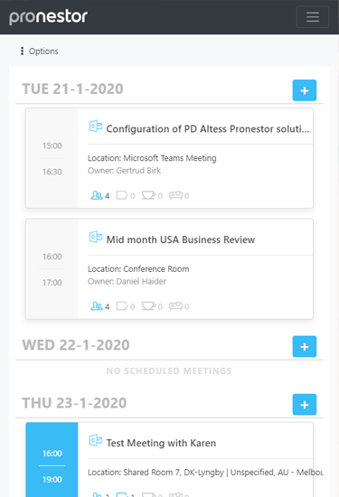 Screenshot of the Pronestor software displaying upcoming meeting information