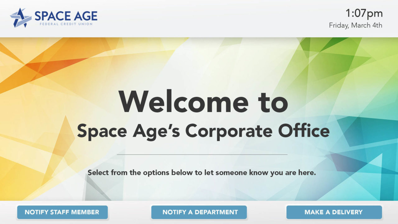 A screenshot of an Interactive Digital Signage solution for Space Age Federal Credit Union