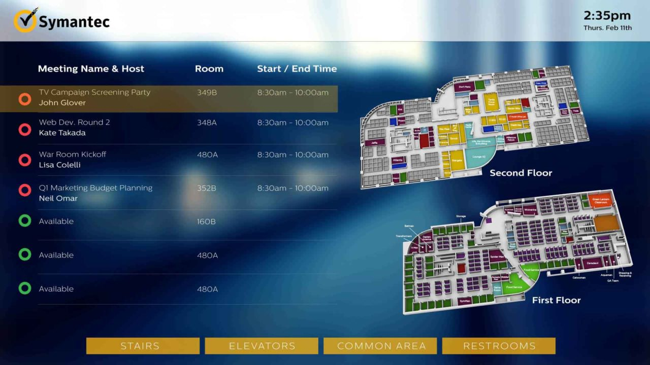 A blue 3D wayfinding screen using implemented meeting room availability updates