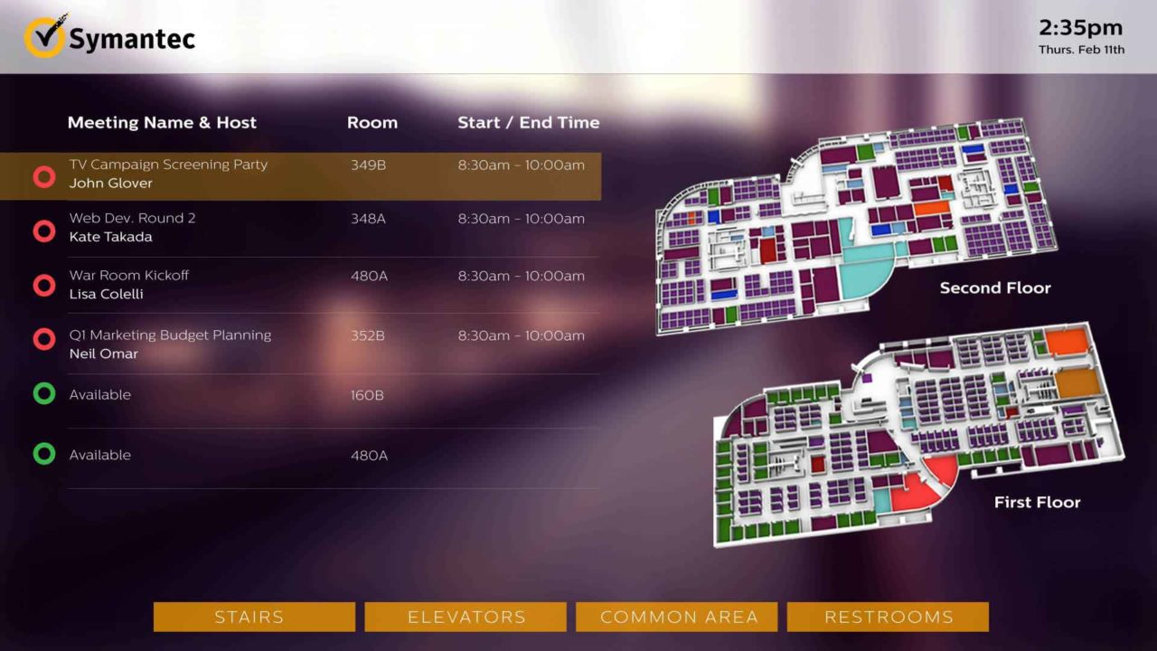 A purple 3D wayfinding screen using implemented meeting room availability updates