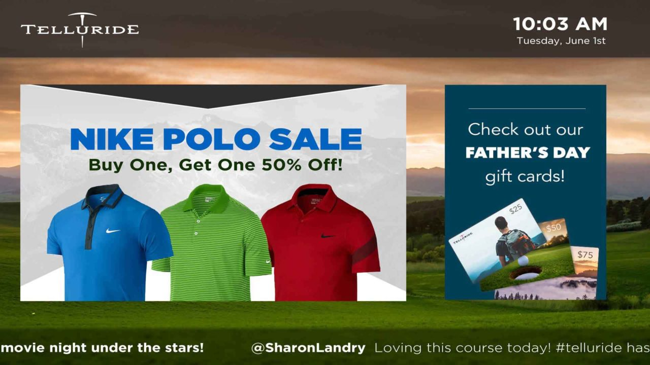 Green pasture background image with overlay image of polo t-shirts on sale for father's day