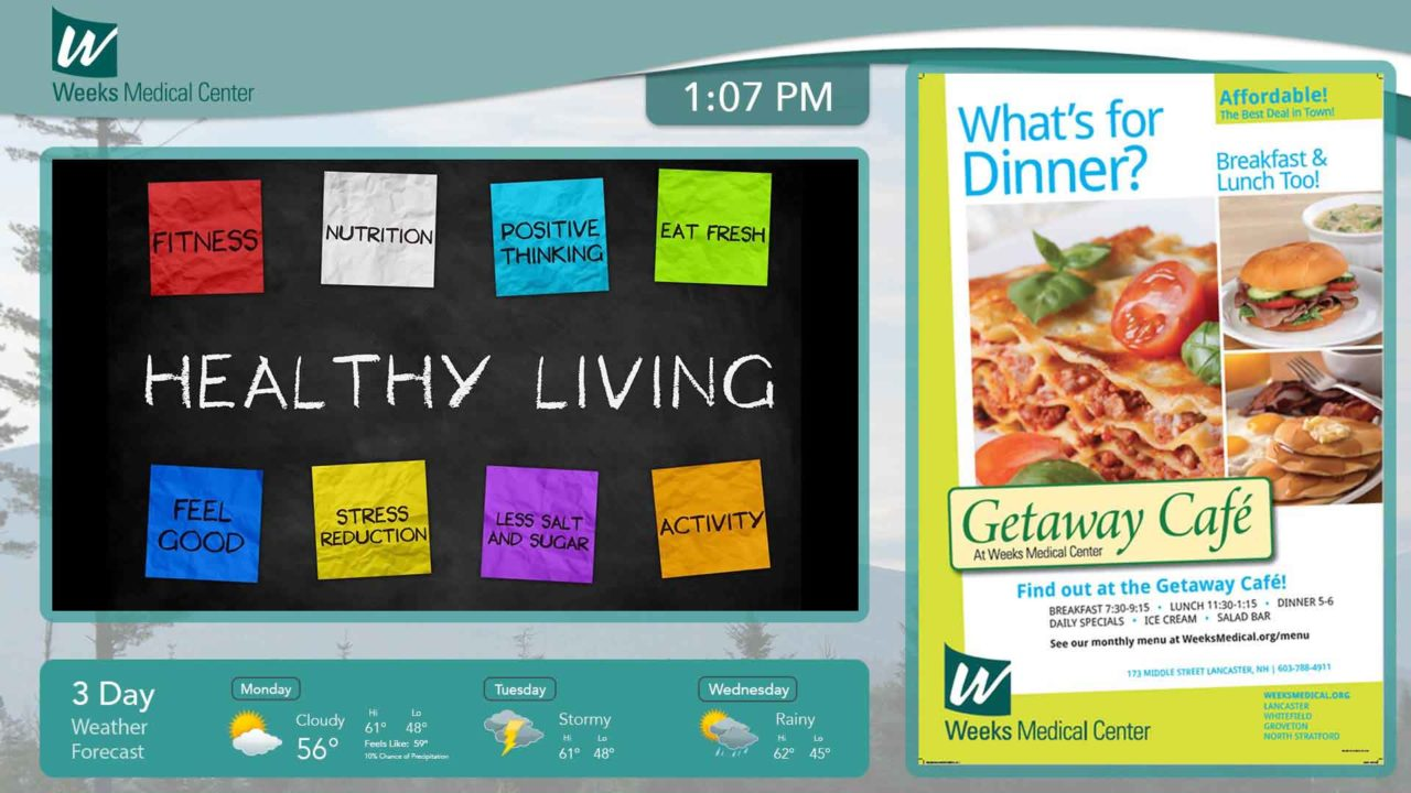 """Digital signage board with """"Healthy Living"""" chalkboard, weather forecast widget, and menu"""