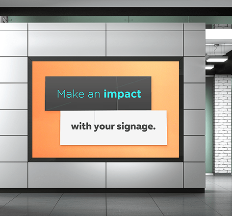 "A digital signage TV with two boxes of text saying ""Make an impact with your signage."""