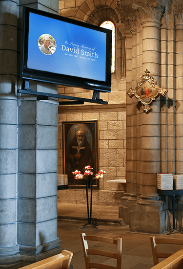 Funeral Home Digital Signage image with david smith big screen