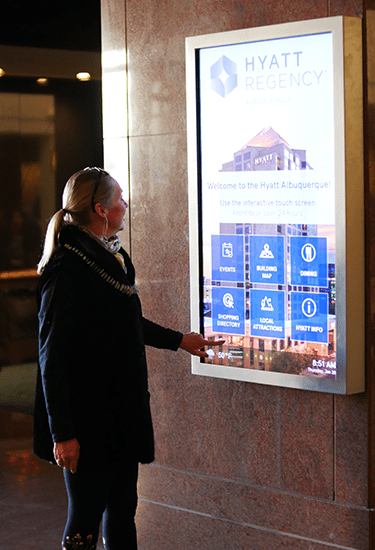 Image of a lady using Hotels and hospitality services screen