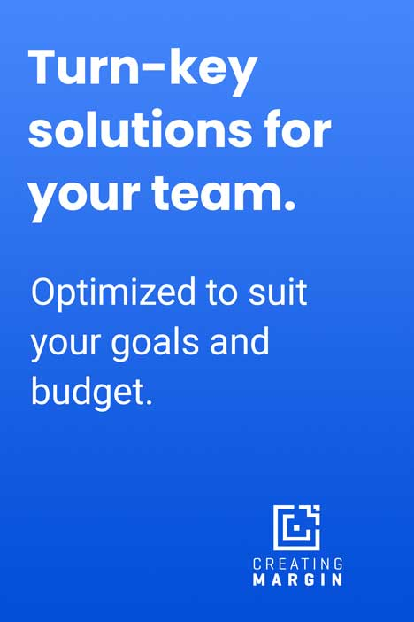 "Blue image with text that says ""Turn-key digital signage solutions for your team. Optimized to suit your goals and budget."""