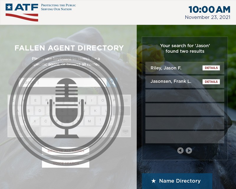 An image of the Fallen Agents Kiosk showing a voice activated search function.